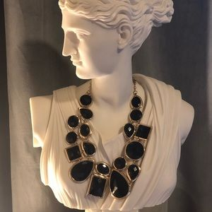 T & J Designs Large Black Gem Necklace